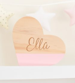 Personalised Wooden Sweet Heart Decor Light Pink