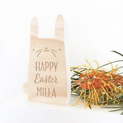 Wooden Easter Bunny with Name