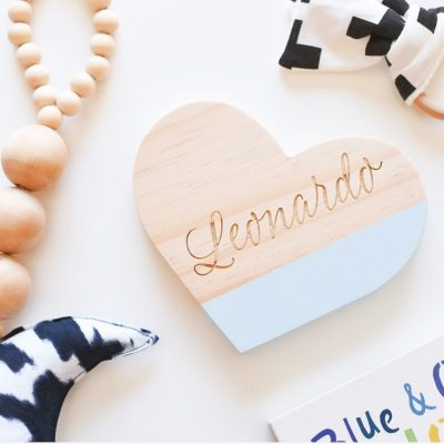 Wooden Heart with Name in Light Blue