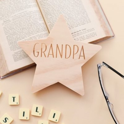 Wooden Star with Name for Grandpa