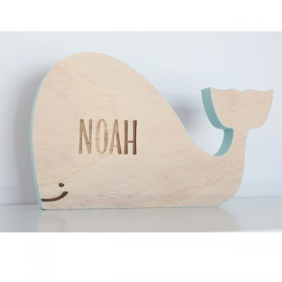 Wooden Whale Name Plaque